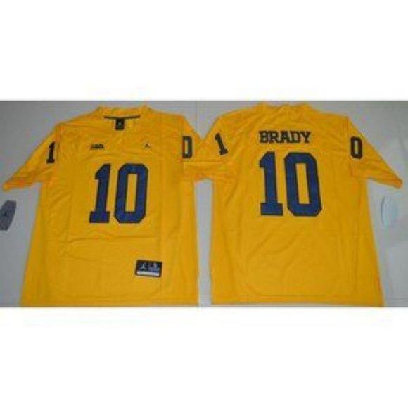 Michigan Wolverines Tom Brady Yellow Jersey